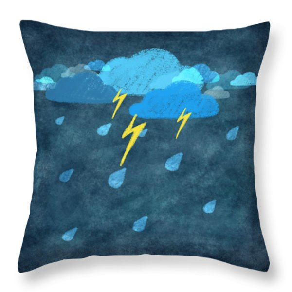 Rainy Day With Storm And Thunder Throw Pillow by Setsiri Silapasuwanchai