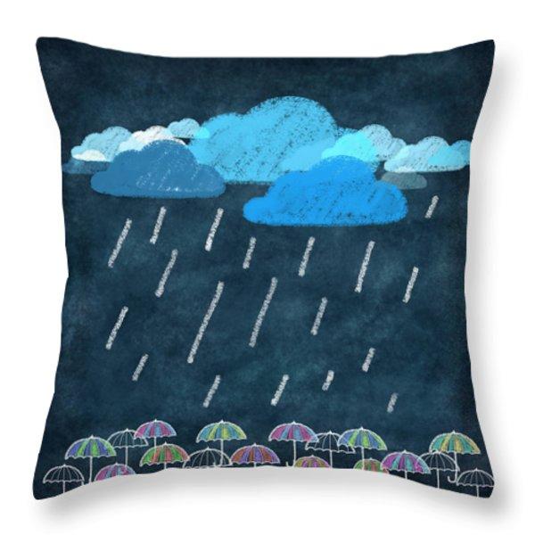Rainy Day With Umbrella Throw Pillow by Setsiri Silapasuwanchai
