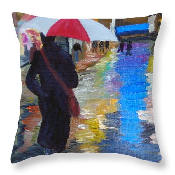 Rainy New York Throw Pillow by Michael Lee