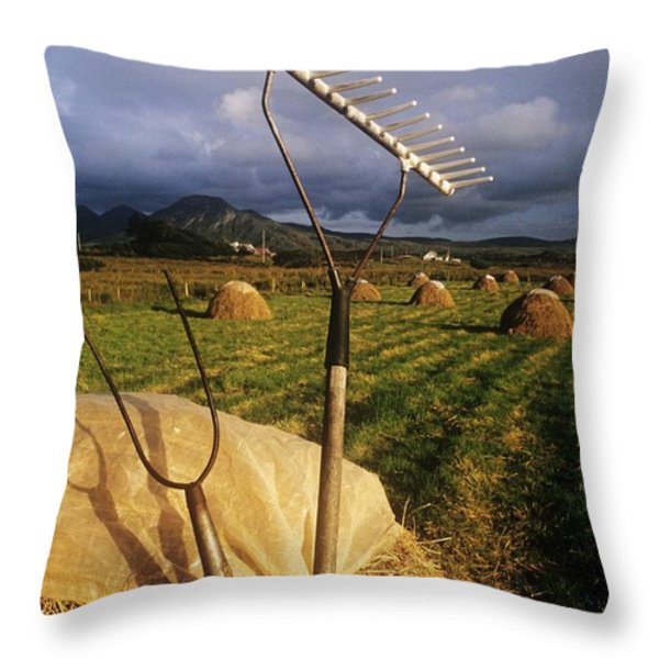 Rake With A Pitchfork On Hay In A Throw Pillow by The Irish Image Collection