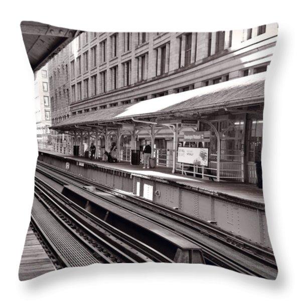 Randolph Street Station Chicago Throw Pillow by Steve Gadomski