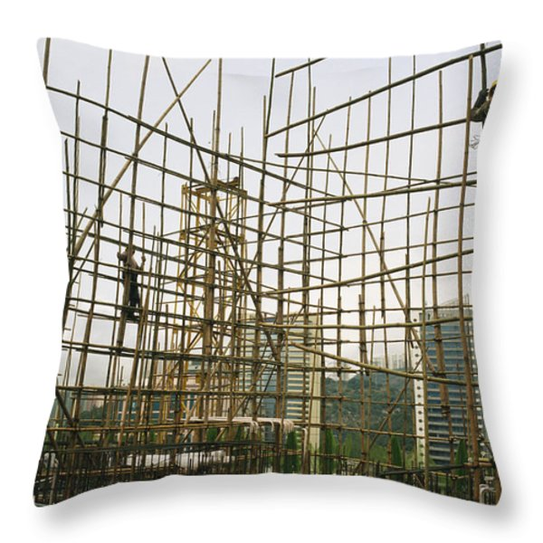 Rare Bamboo Scaffolding Used In Hong Throw Pillow by Justin Guariglia
