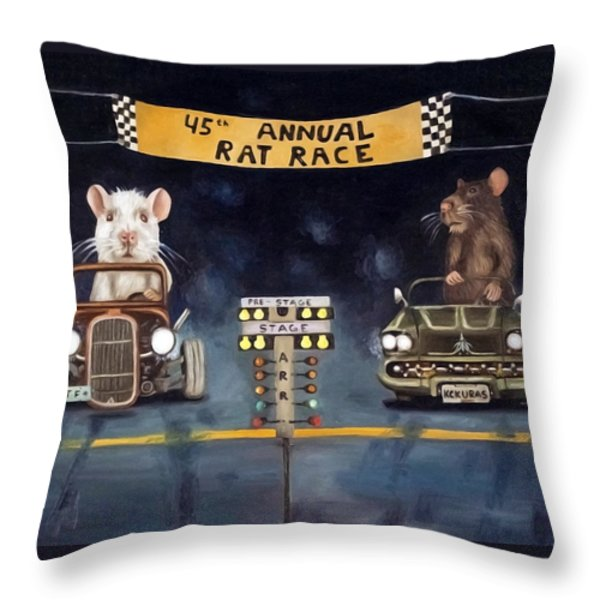 Rat Race Darker Tones Throw Pillow by Leah Saulnier The Painting Maniac