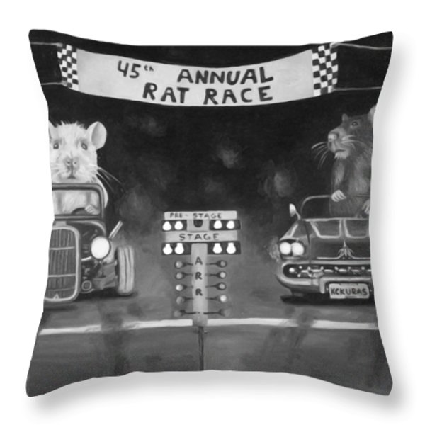 Rat Race In Black And White Throw Pillow by Leah Saulnier The Painting Maniac