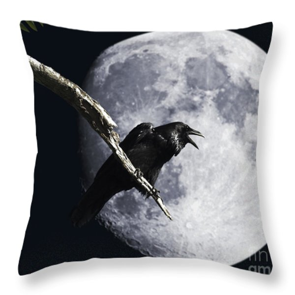 Raven Barking At The Moon Throw Pillow by Wingsdomain Art and Photography