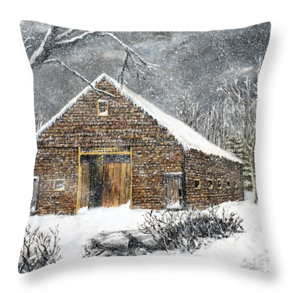 Ray Emerson's Old Barn Throw Pillow by Jack Skinner