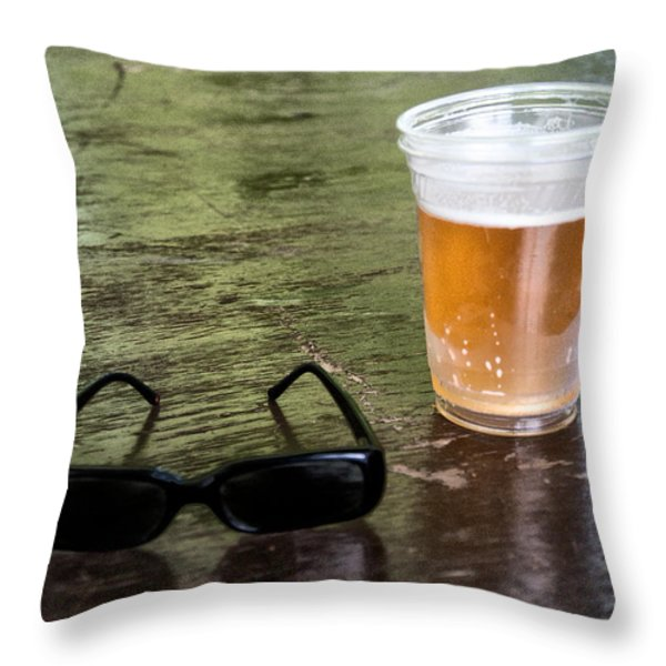 Raybans And A Beer Throw Pillow by Bill Cannon
