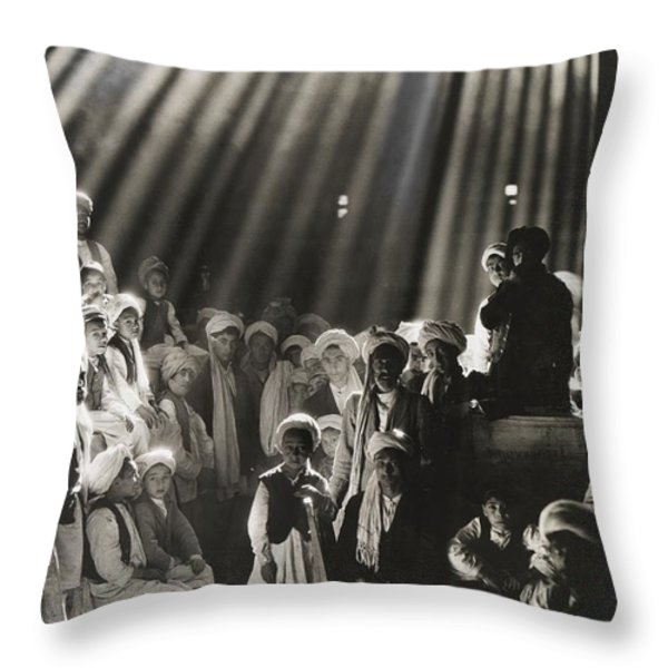 Rays Of Sunlight Shine On Men And Boys Throw Pillow by Maynard Owen Williams