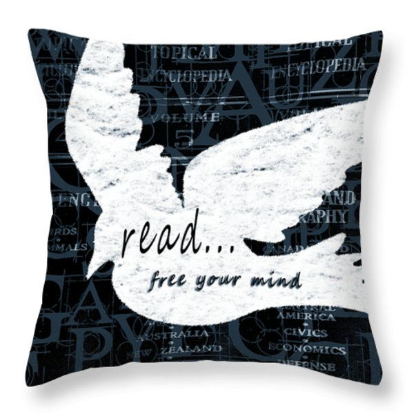 Read Free Your Mind Teal Throw Pillow by Angelina Vick