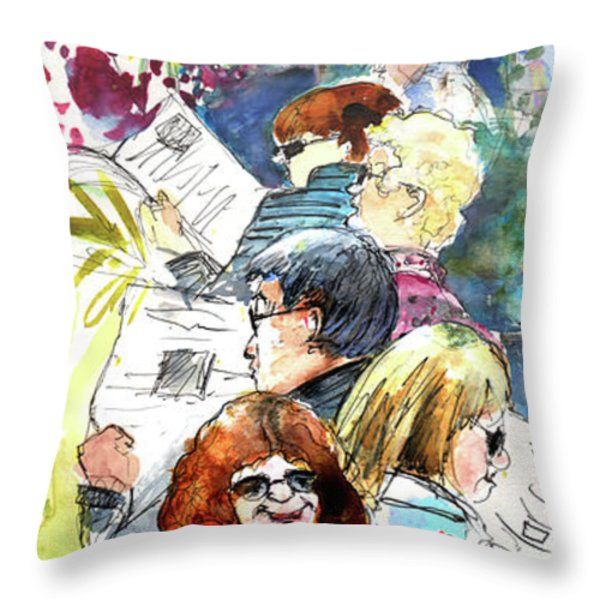 Reading The News 08 Throw Pillow by Miki De Goodaboom