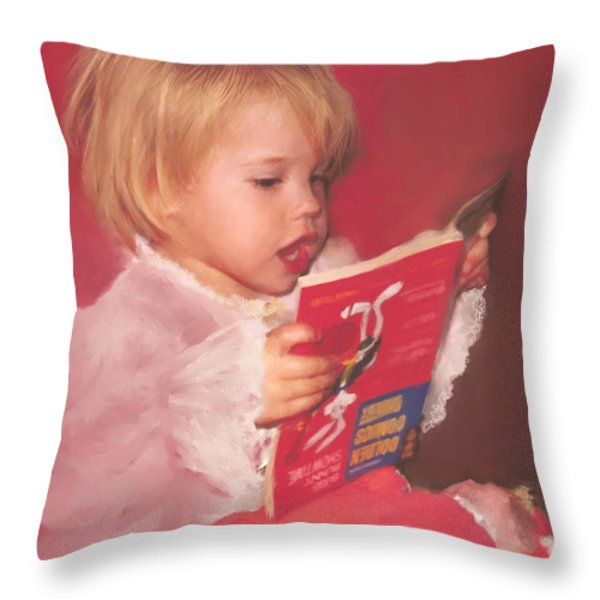 Reading To Her Baby Throw Pillow by McKenzie Leopold