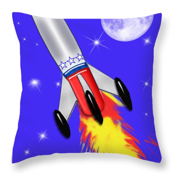 Really Cool Rocket In Space Throw Pillow by Elaine Plesser
