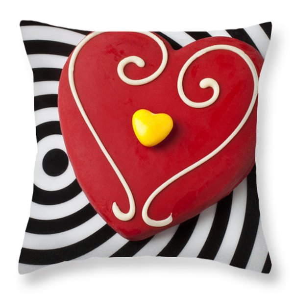 Red And Yellow Heart Throw Pillow by Garry Gay