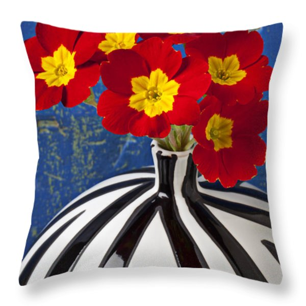 Red And Yellow Primrose Throw Pillow by Garry Gay