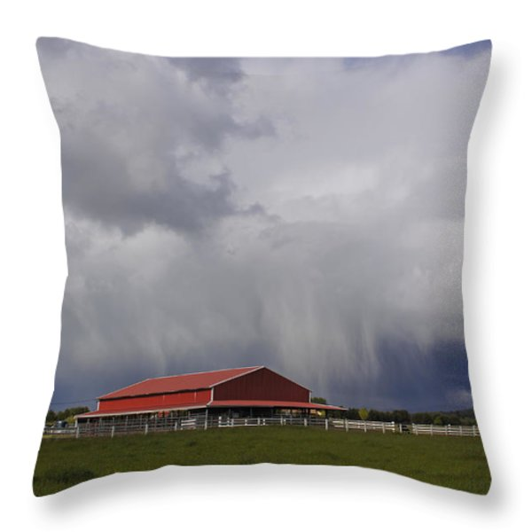 Red Barn And Stormy Sky Throw Pillow by Mick Anderson