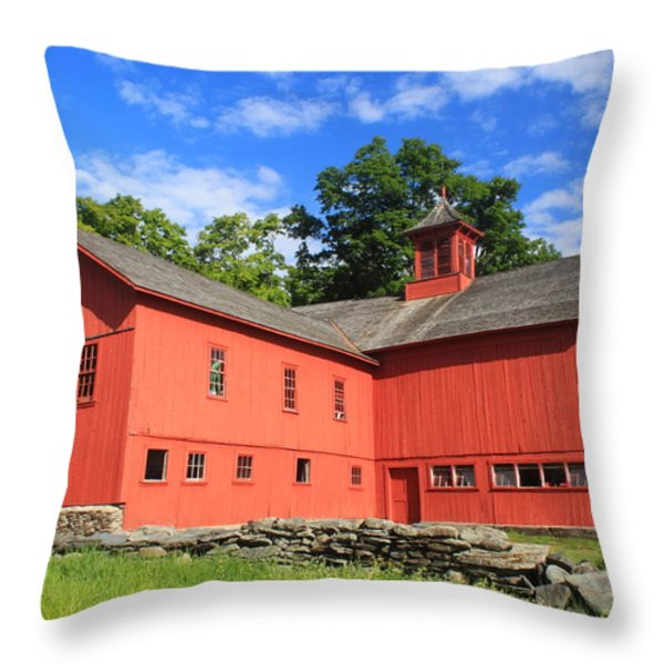 Red Barn At Bryant Homestead Throw Pillow by John Burk