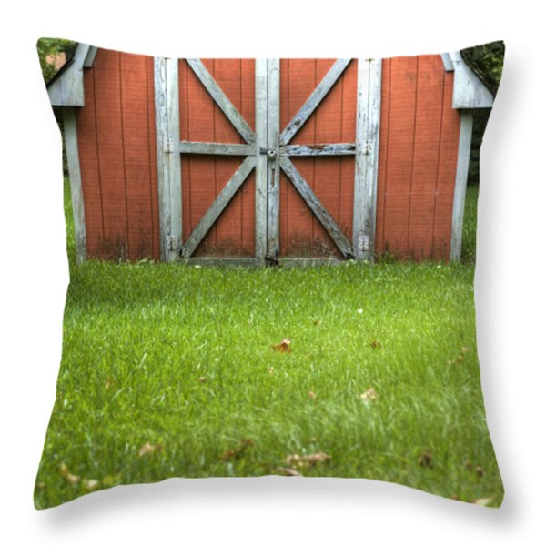 Red Barn Throw Pillow by Dustin K Ryan
