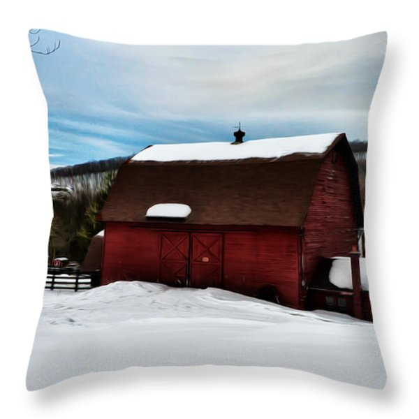 Red Barn in the Snow Throw Pillow by Bill Cannon