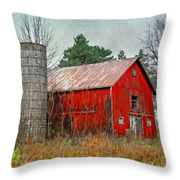 Red Barn Throw Pillow by Mary Timman