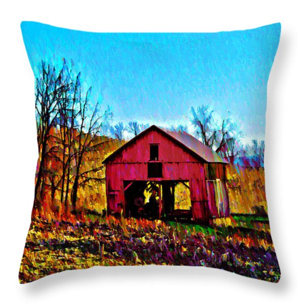 Red Barn On A Hillside Throw Pillow by Bill Cannon