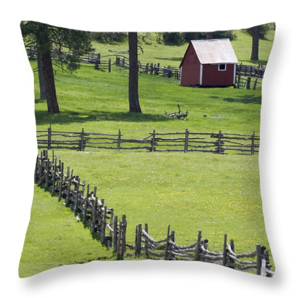 Red Barn On Highway 160 Near Pagosa Throw Pillow by Rich Reid