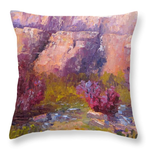 Red Bud Trees Throw Pillow by Terry  Chacon