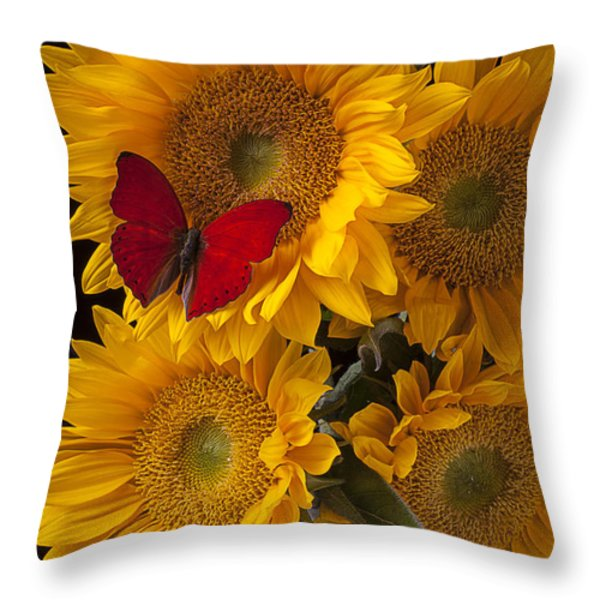 Red butterfly with four sunflowers Throw Pillow by Garry Gay