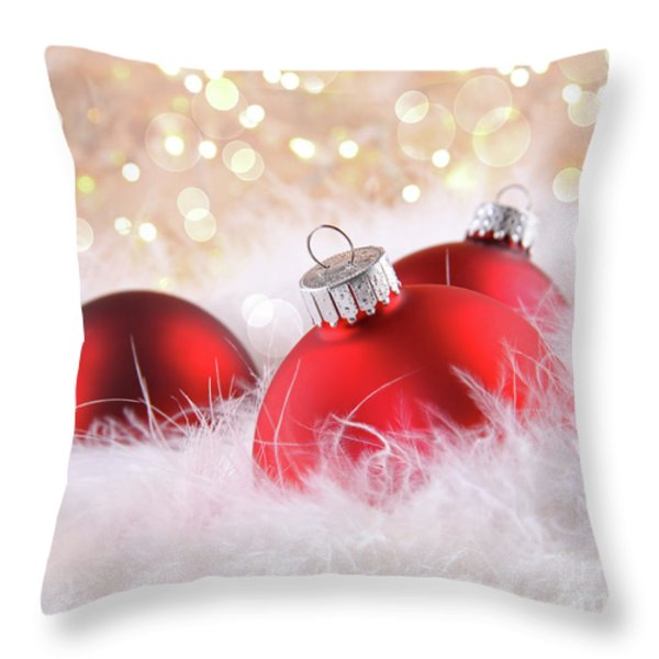 Red Christmas Balls With Abstract Background Throw Pillow by Sandra Cunningham