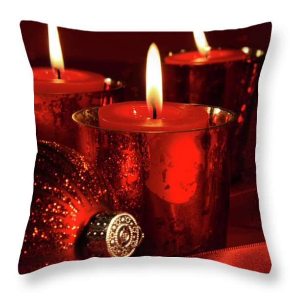 Red Christmas Balls With Bows On White Throw Pillow by Sandra Cunningham