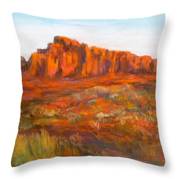 Red Cliffs Throw Pillow by Jack Skinner