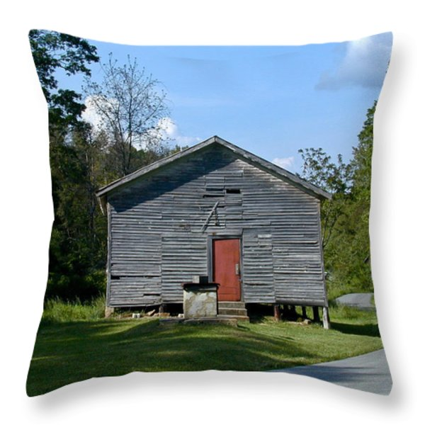 Red Door of the One Room School House Throw Pillow by Douglas Barnett