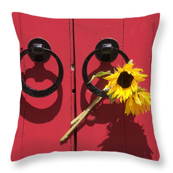 Red Door Sunflowers Throw Pillow by Garry Gay