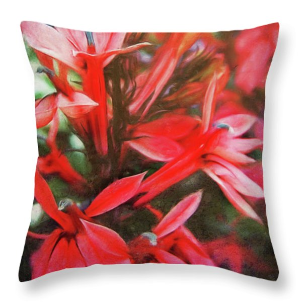 Red Flowers Throw Pillow by Angela Doelling AD DESIGN Photo and PhotoArt