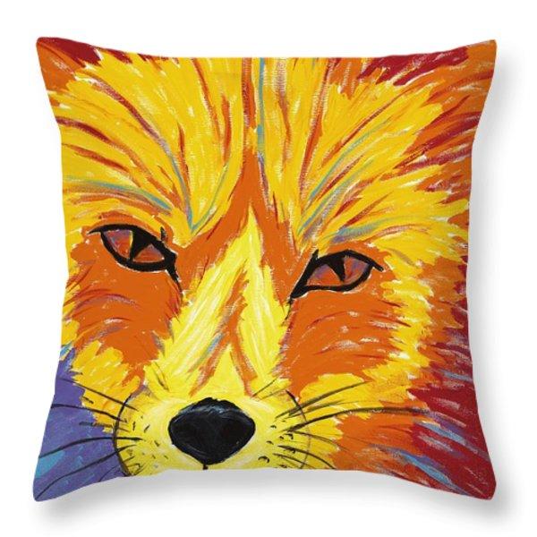Red Fox Throw Pillow by Peggy Quinn