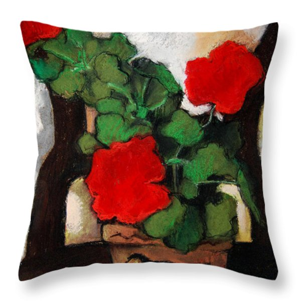 RED GERANIUM Throw Pillow by MONA EDULESCO
