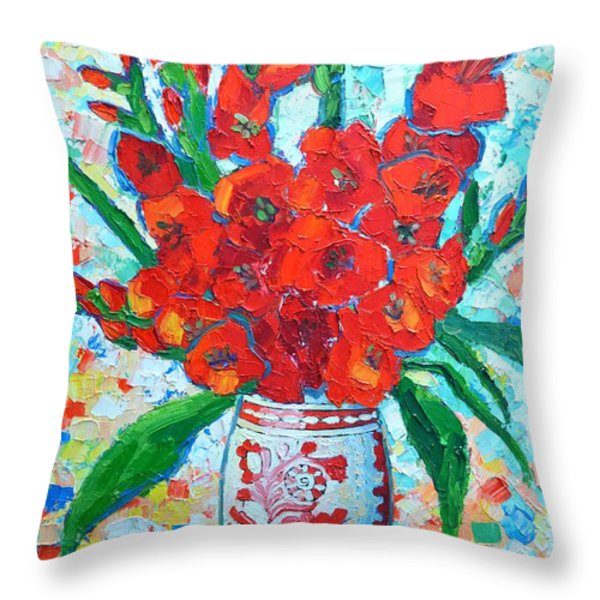 Red Gladiolus Throw Pillow by Ana Maria Edulescu