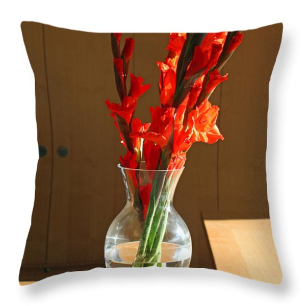 Red Glads Throw Pillow by Suzanne Gaff
