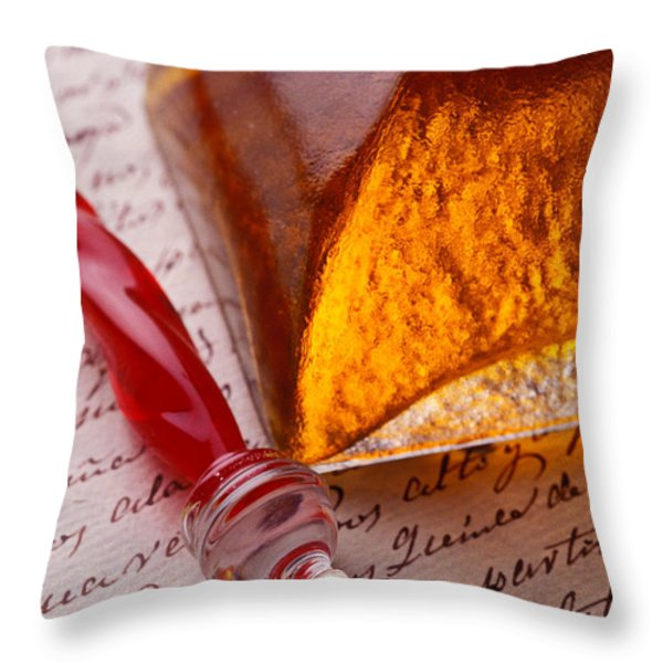 Red Glass Pen  Throw Pillow by Garry Gay