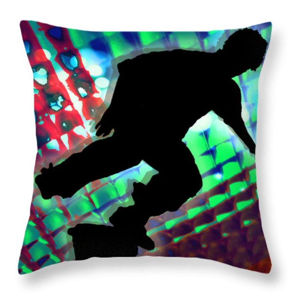 Red Green And Blue Abstract Boxes Skateboarder Throw Pillow by Elaine Plesser
