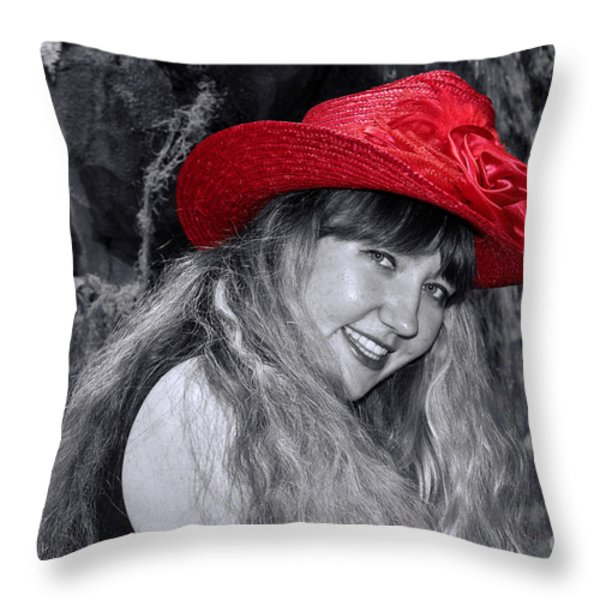 Red Hat And A Blonde Black And White Throw Pillow by Mariola Bitner