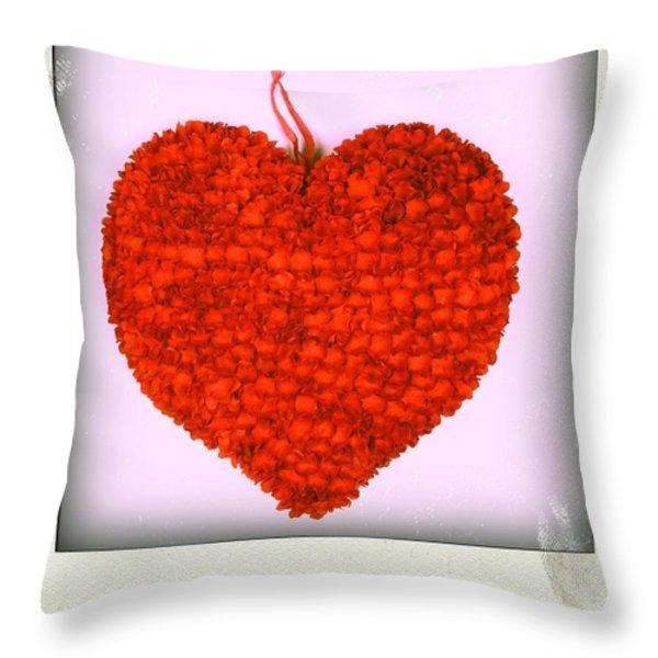 Red Heart Throw Pillow by Bernard Jaubert