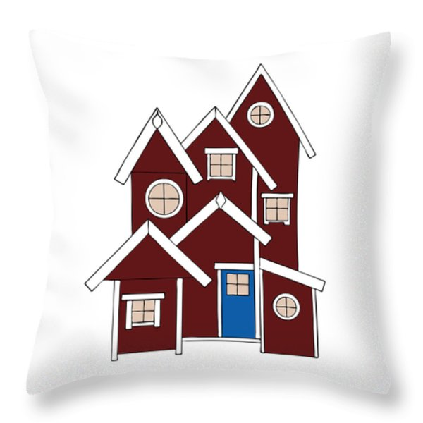 Red Houses Throw Pillow by Frank Tschakert