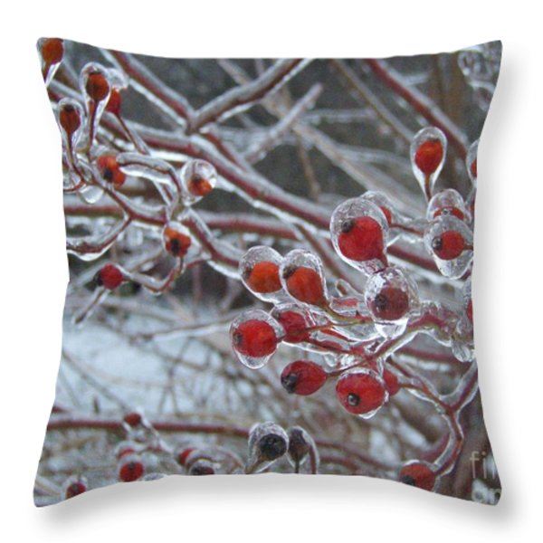 Red Ice Berries Throw Pillow by Kristine Nora