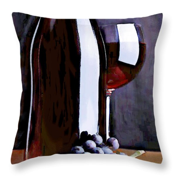 Red in the Shadows Throw Pillow by Elaine Plesser