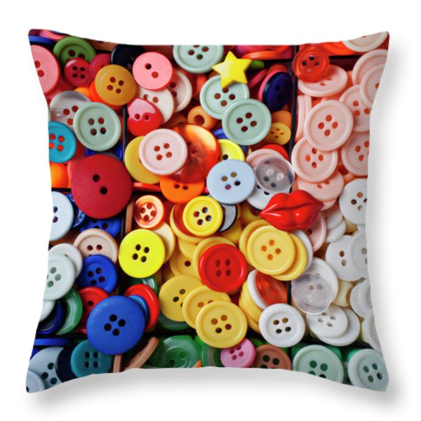 Red lips button Throw Pillow by Garry Gay