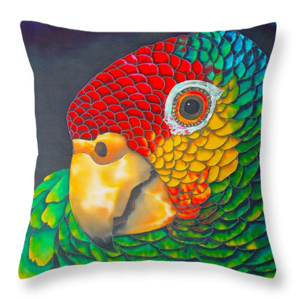 Red Lorred Parrot Throw Pillow by Daniel Jean-Baptiste