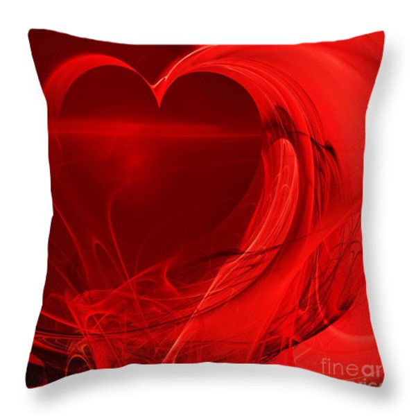 Red Love . Square . A120423.279 Throw Pillow by Wingsdomain Art and Photography