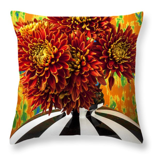Red Mums In Striped Vase Throw Pillow by Garry Gay