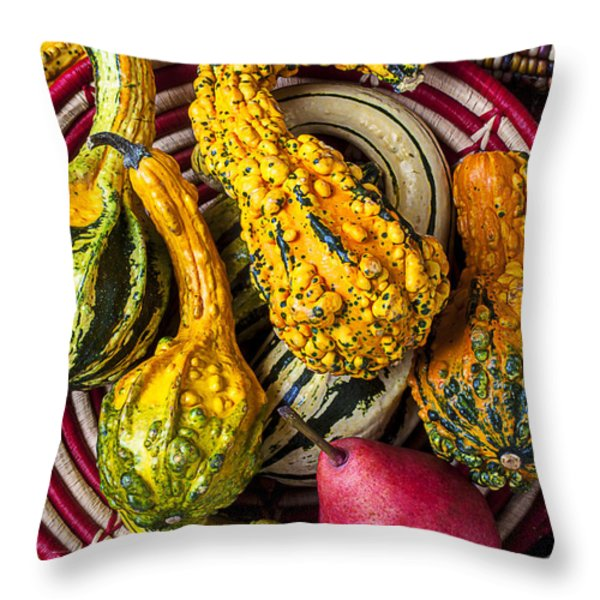 Red Pear And Gourds Throw Pillow by Garry Gay