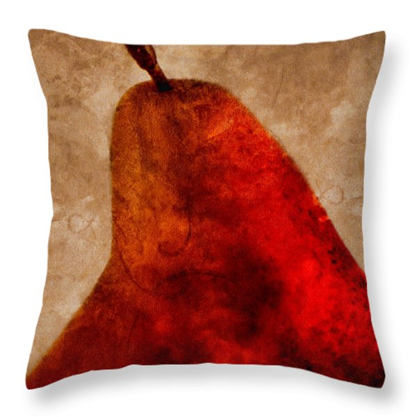 Red Pear II Throw Pillow by Carol Leigh